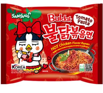 Лапша Buldak Tomato Pasta Hot Chicken Flavor ramen острая, 140гр.